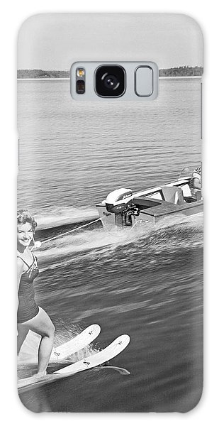 Powerboat Galaxy Case - Woman Water Skiing by Underwood Archives