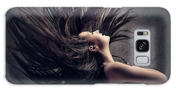 Erotic Galaxy Case - Woman Waving Long Dark Hair by Johan Swanepoel