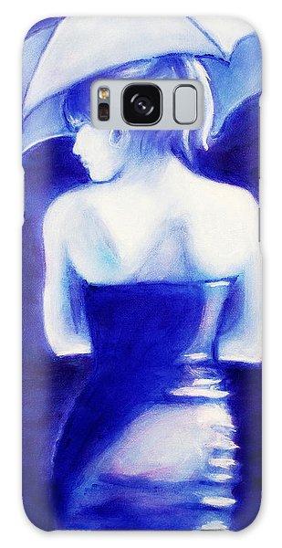 Woman With An Umbrella Blue Galaxy Case