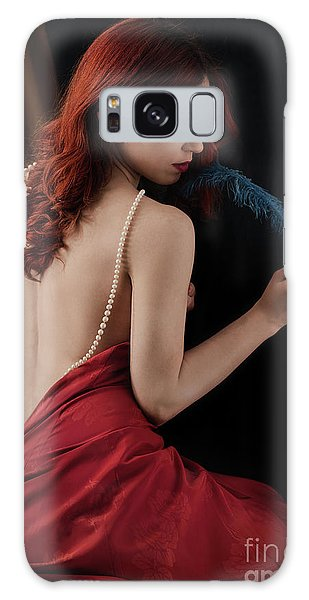 Woman With Blue Feather Galaxy Case