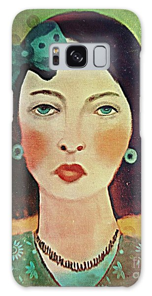 Woman With Blue Hair Bow Galaxy Case by Alexis Rotella