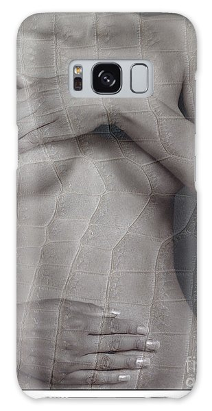 Woman With Hands On Breasts Galaxy Case