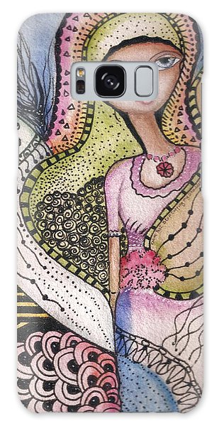 Woman With Large Eyes Galaxy Case