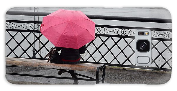 Woman With Pink Umbrella. Galaxy Case