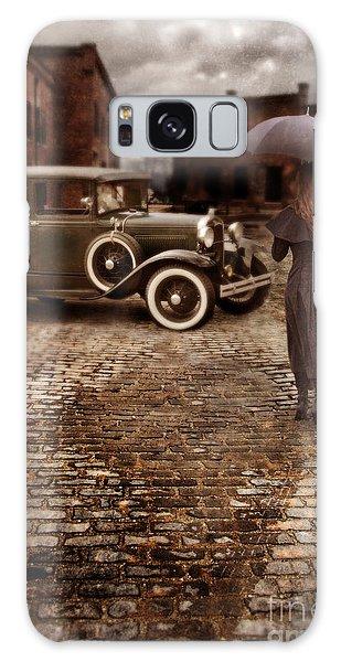 Woman With Umbrella By Vintage Car Galaxy Case