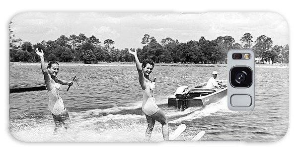 Powerboat Galaxy Case - Women Water Skiers Waving by Underwood Archives