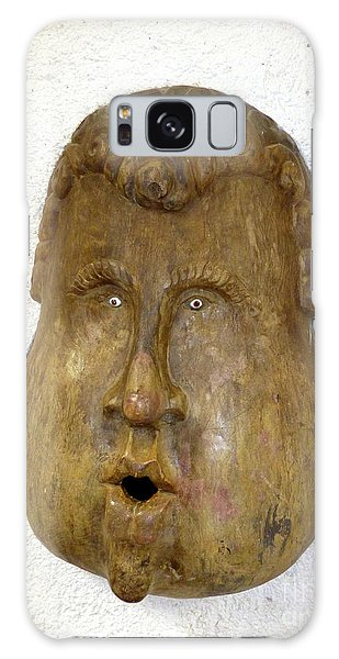 Galaxy Case featuring the photograph Wood Carved Face by Francesca Mackenney