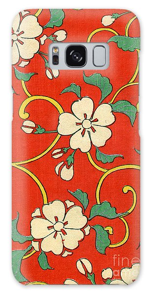 Woodblock Print Of Apple Blossoms Galaxy Case