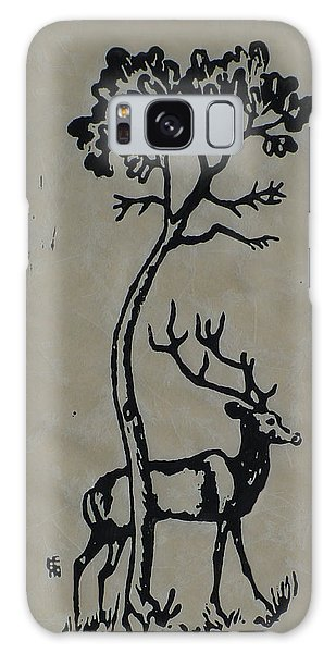 Woodcut Deer Galaxy Case
