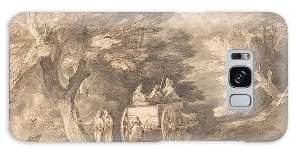 Cart Galaxy Case - Wooded Landscape With Country Cart And Figures Walking Down A Lane by Thomas Gainsborough