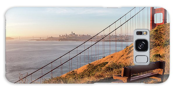 Wooden Bench Overlooking Downtown San Francisco With The Golden  Galaxy Case