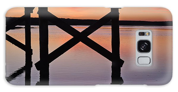 Wooden Bridge Silhouette At Dusk Galaxy Case