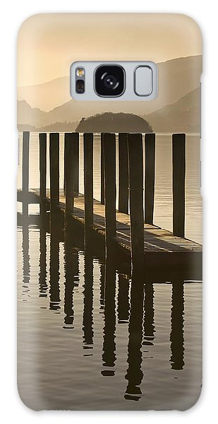 Wooden Dock In The Lake At Sunset Galaxy Case