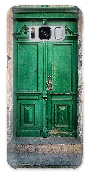Wooden Ornamented Gate In Green Color Galaxy Case by Jaroslaw Blaminsky