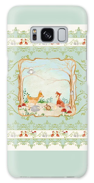 Woodland Fairy Tale - Aqua Blue Forest Gathering Of Woodland Animals Galaxy Case by Audrey Jeanne Roberts
