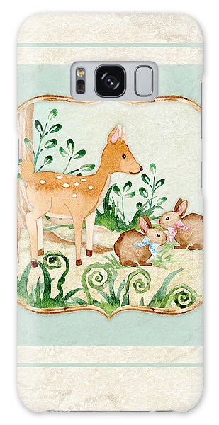 Deer Galaxy S8 Case - Woodland Fairy Tale - Deer Fawn Baby Bunny Rabbits In Forest by Audrey Jeanne Roberts