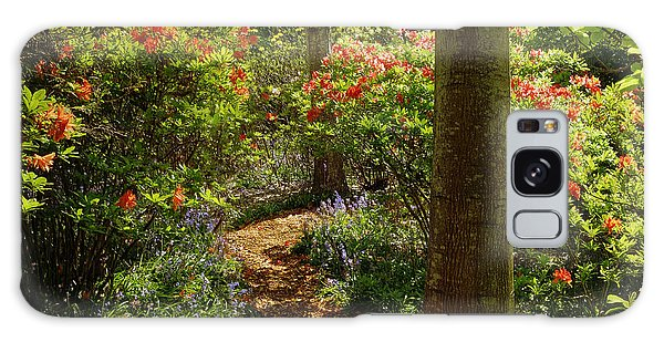 Woodland Path With Rhododendrons Galaxy Case by Maria Janicki