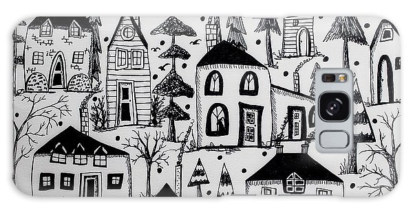 Pen And Ink Drawing Galaxy Case - Woodsy Village by Karla Gerard