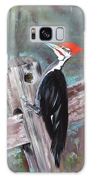 Galaxy Case featuring the painting Woody - The Pileated Woodpecker by Jan Dappen