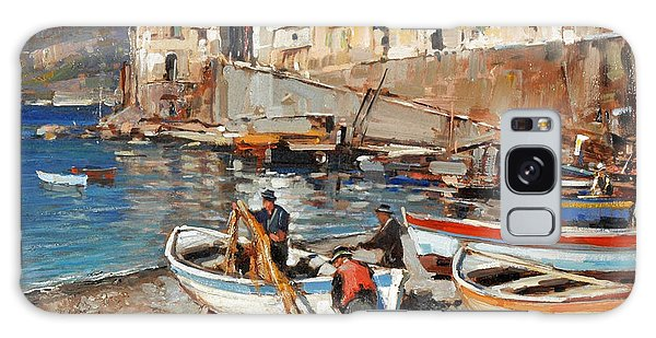 Galaxy Case featuring the painting Work Never Ends For Amalfi Fishermen by Rosario Piazza