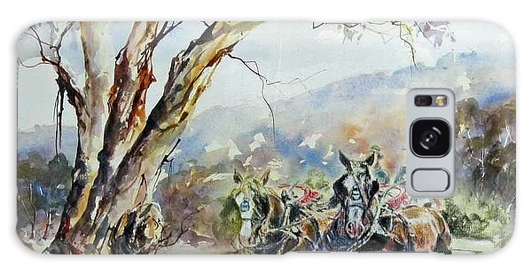 Working Clydesdale Pair, Australian Landscape. Galaxy Case