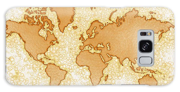 World Map Airy In Brown And White Galaxy Case