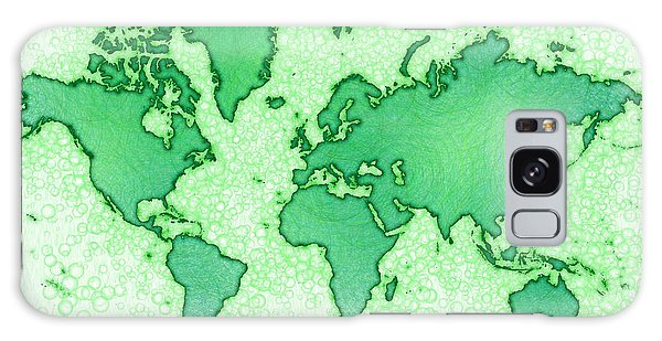 World Map Airy In Green And White Galaxy Case by Eleven Corners