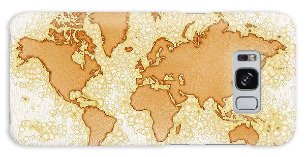 World Map Airy You Are Here In Brown And White  Galaxy Case