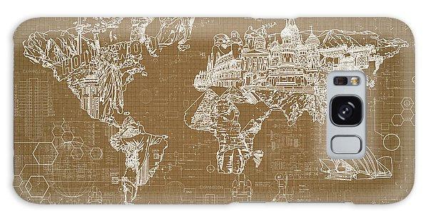 World Map Blueprint 4 Galaxy Case by Bekim Art