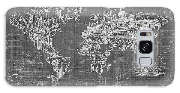 World Map Blueprint 5 Galaxy Case by Bekim Art