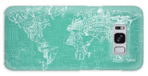 World Map Blueprint 7 Galaxy Case by Bekim Art