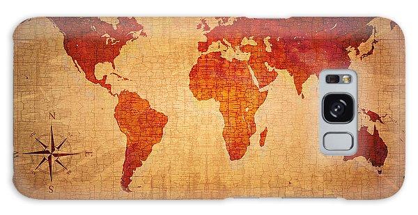 Faded Galaxy Case - World Map Grunge Style by Johan Swanepoel