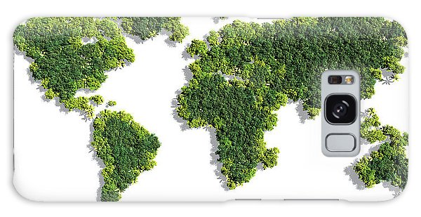 Made Galaxy Case - World Map Made Of Green Trees by Johan Swanepoel