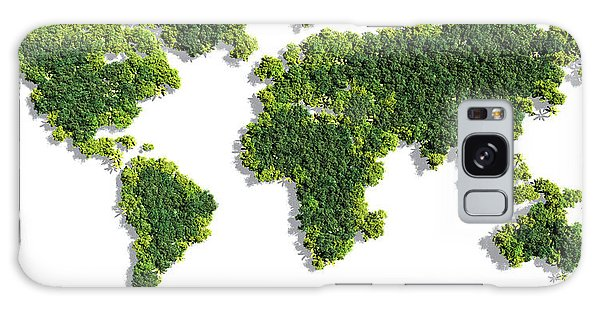 Recycle Galaxy Case - World Map Made Of Green Trees by Johan Swanepoel