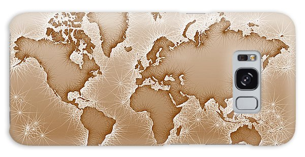 World Map Opala In Brown And White Galaxy Case