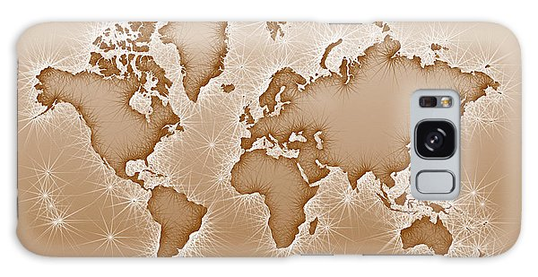World Map Opala Square In Brown And White Galaxy Case