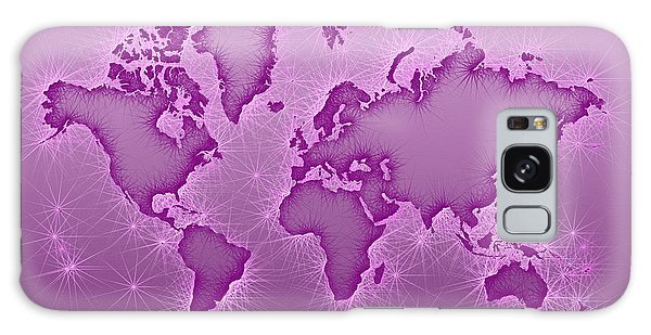 World Map Opala Square In Purple And Pink Galaxy Case