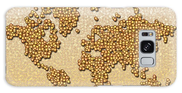 World Map Rolamento In Yellow And Brown Galaxy Case