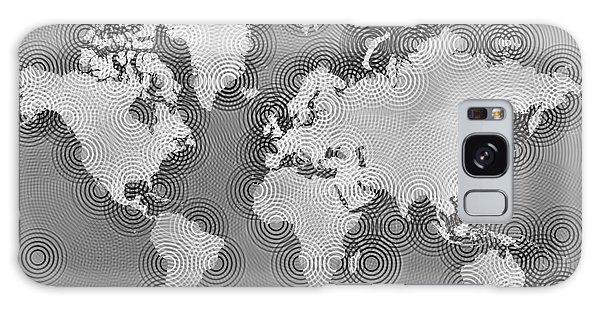 World Map Zona In Black And White Galaxy Case