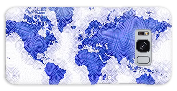 World Map Zona In Blue And White Galaxy Case