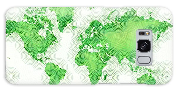 World Map Zona In Green And White Galaxy Case