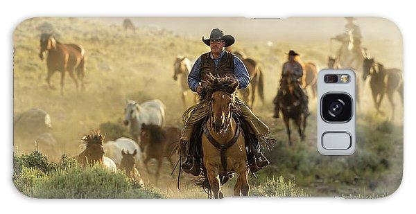 Wrangling The Horses At Sunrise At Absaroka Ranch, Wyoming Galaxy Case