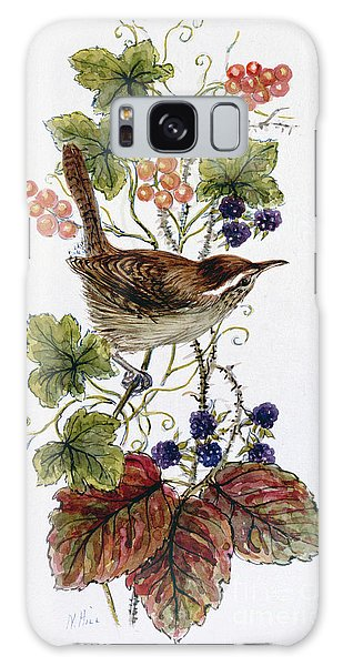 Wren On A Spray Of Berries Galaxy Case