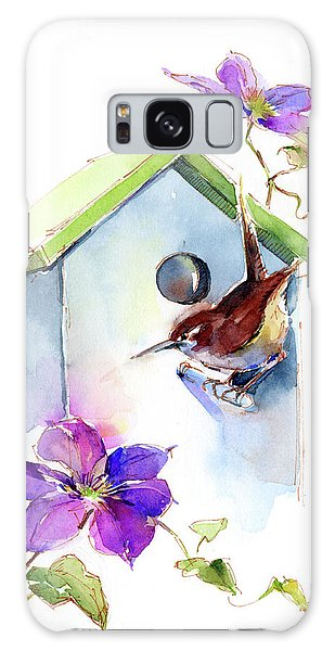 Wren With Birdhouse And Clematis Galaxy S8 Case