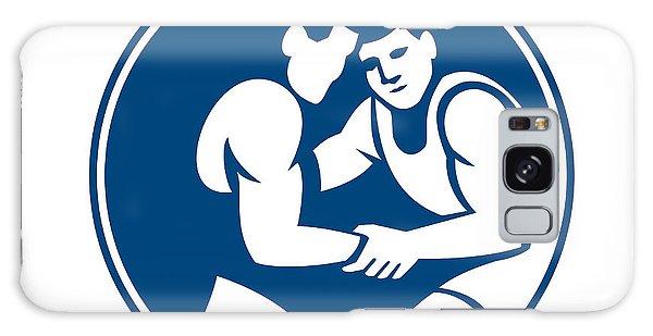Sportsman Galaxy Case - Wrestlers Wrestling Circle Icon by Aloysius Patrimonio