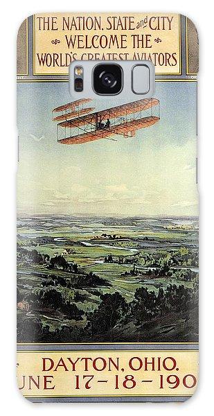 Wright Brothers - World's Greatest Aviators - Dayton, Ohio - Retro Travel Poster - Vintage Poster Galaxy Case