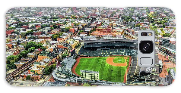 Galaxy Case featuring the painting Wrigley Field Chicago Skyline by Christopher Arndt