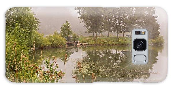 Misty Pond Bridge Reflection #5 Galaxy Case