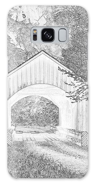 Galaxy Case - Yachats Covered Bridge Pen And Ink by Bob Neiman