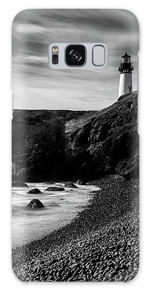Yaquina Head Lighthouse 1 Black And White Galaxy Case